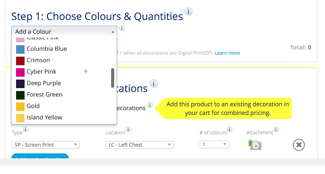 Screenshot of entripy.com order process of users choosing the colour for their custom apparel orders.