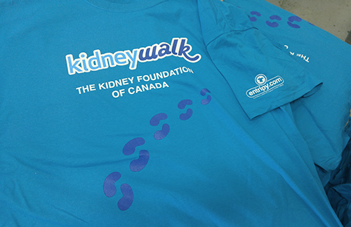 Entripy printed custom t-shirts for Kidney Walk charity fundraising event.