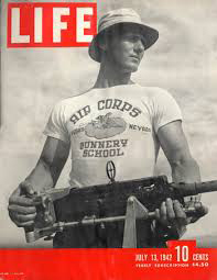 White custom printed t-shirt was the first to be shown on the 1942 Life Magazine.
