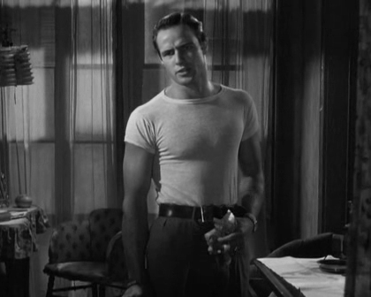 Hollywood star Marlon Brando wearing white t-shirt in a 1951 movie.