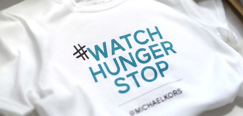 Charity custom t-shirt to fight hunger by Michael Kors.