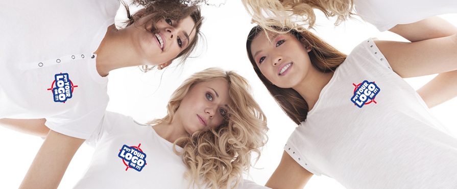 Alstyle NAFTA friendly white custom t-shirts on a group of females with a left and right chest custom logo.