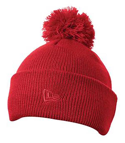 Everyday wear red pom pom custom toque embroidered with custom logos.