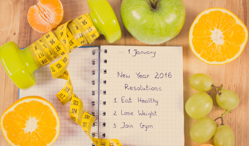 New year resolution list including exercising and eating fruits to get healthy and fit.