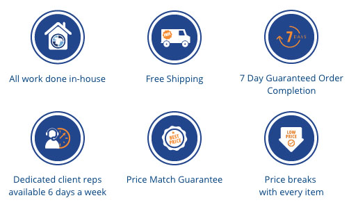 Entripy's custom clothing orders done in-house with price match guarantee, live chat, and guaranteed order in 5 days.