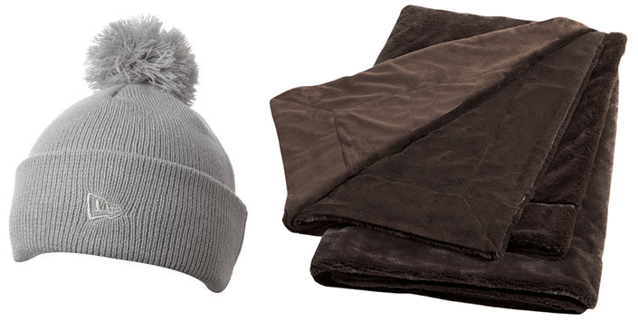 Comfortable corporate gifts for clients is custom toques and soft feel blankets.