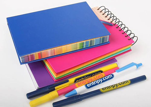 Custom notebooks and custom pens to be used for promotional products as giveaways to clients, customers or employees.