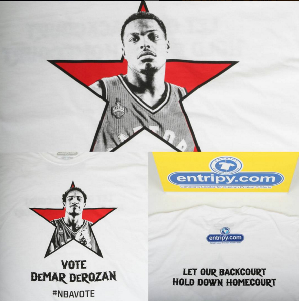 Custom printed t-shirt displaying Toronto Raptors asking to be voted to participate in the All-Star basketball game.