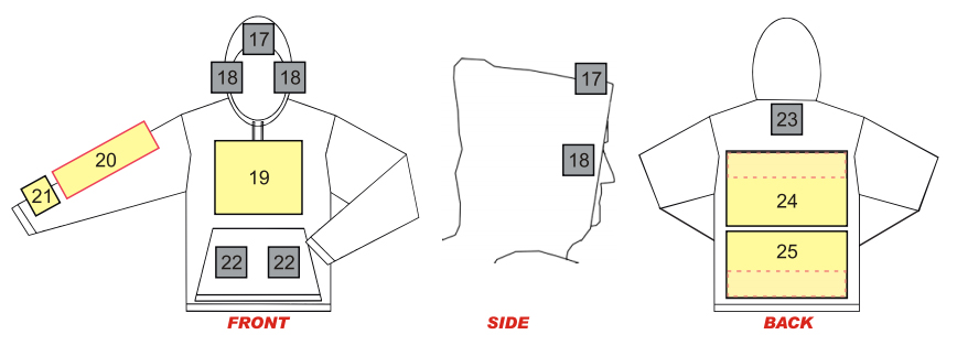 Layout of areas where customized designs and logos can be placed on a custom sweatshirt.
