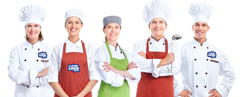 Custom aprons, chef hats and personalized chef coats ready to be customized with your logo or design.