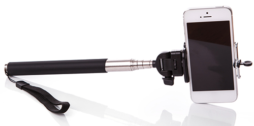 Entripy's popular custom promo item, the selfie stick, that can be used to custom print any logo or design.