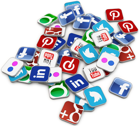 Social media icons in a pile from Twitter, Facebook, Instagram, YouTube to Pinterest.