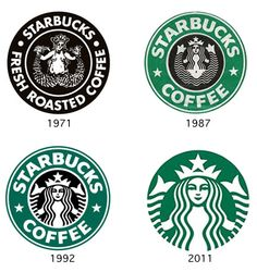 Different versions of Starbucks logos that changed over the years.