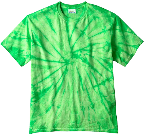 Green tie dye custom t-shirt to be used for screen printing with custom design or logo.