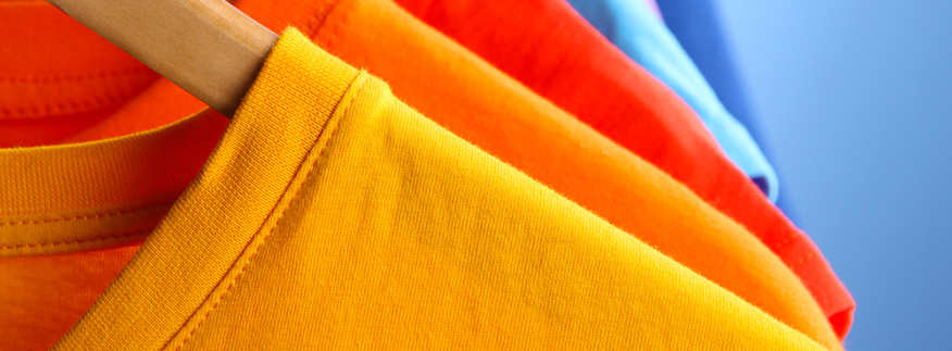 Colourful close up of t-shirts. Entripy's top 5 custom t-shirts.