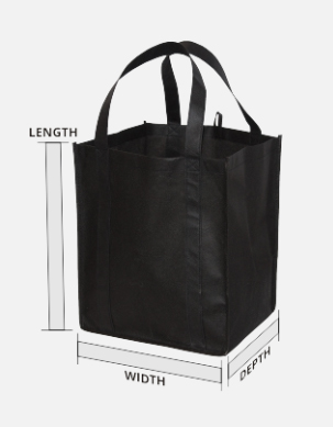 Black jumbo custom tote bag with measurements of length and width.