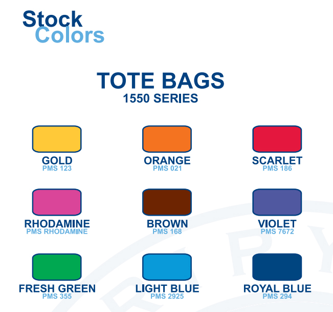 Various stock colours displayed to choose from for custom printed tote bags.