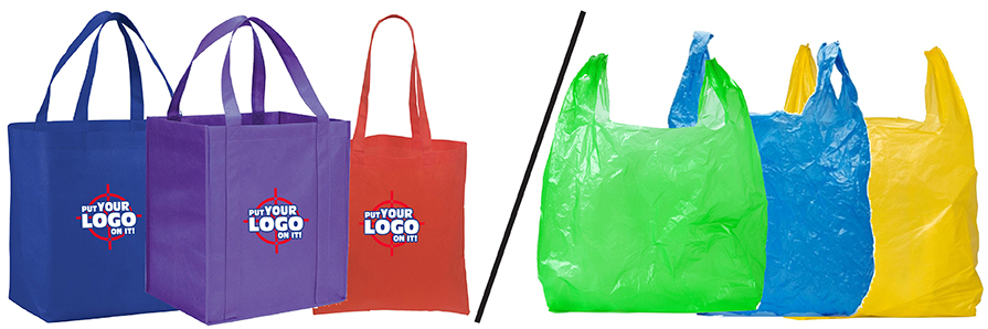 Comparison of canvas tote bags for customization with design and logo with coloured plastic bags for grocery items.