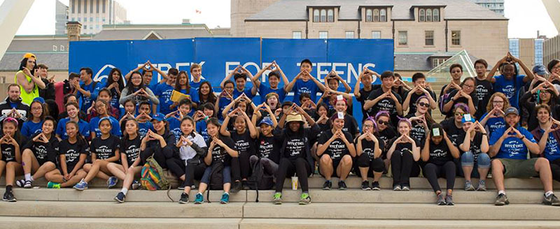 Group of Trek For Teens participants wearing black custom printed t-shirts.