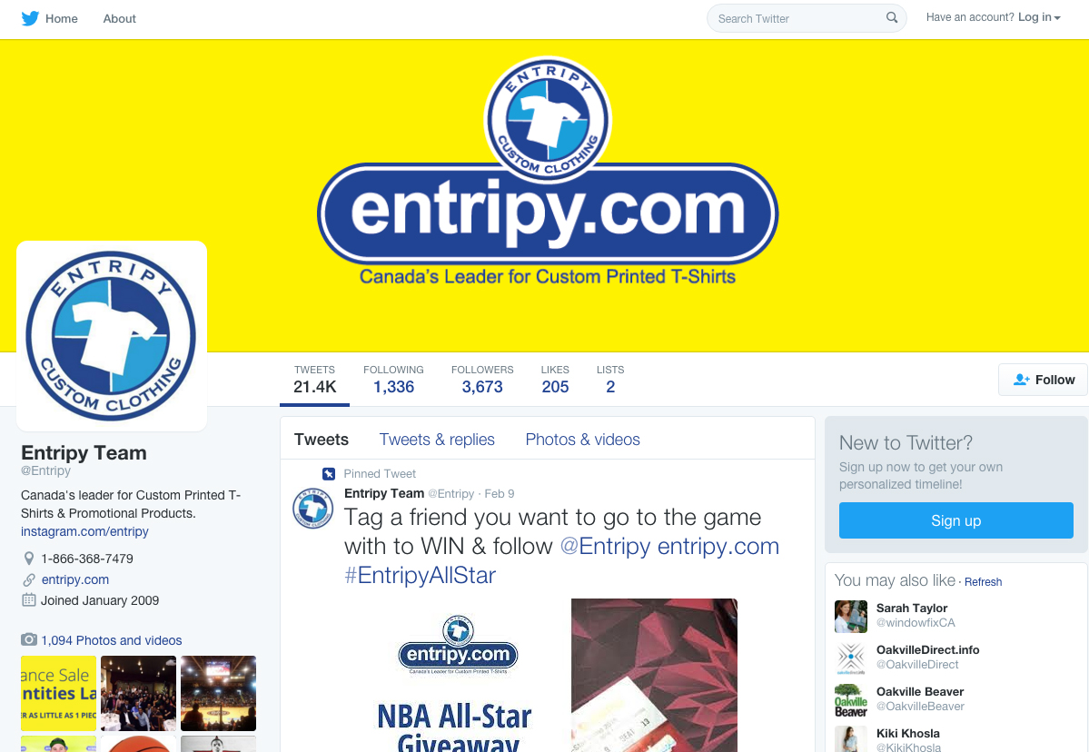 Entripy's social media page to send custom t-shirt updates to all Twitter, Facebook and Instagram followers.