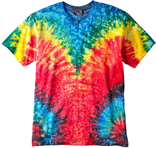 Colourful tie dye custom t-shirt offered to be screen printed with custom designs and logo.