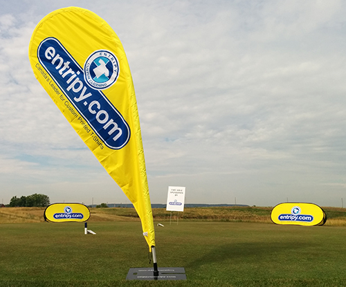 Entripy signage branded with yellow & blue for increasing brand awareness.