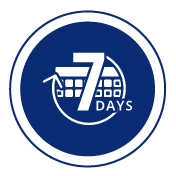 Icon of standard shipping service guaranteeing order in 7 business days for custom clothing.