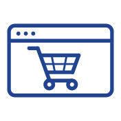 Shopping cart icon to shop online on Entripy for custom clothing orders.