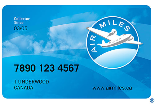 AirMiles credit card showing collector's number and name to get miles for custom apparel orders.