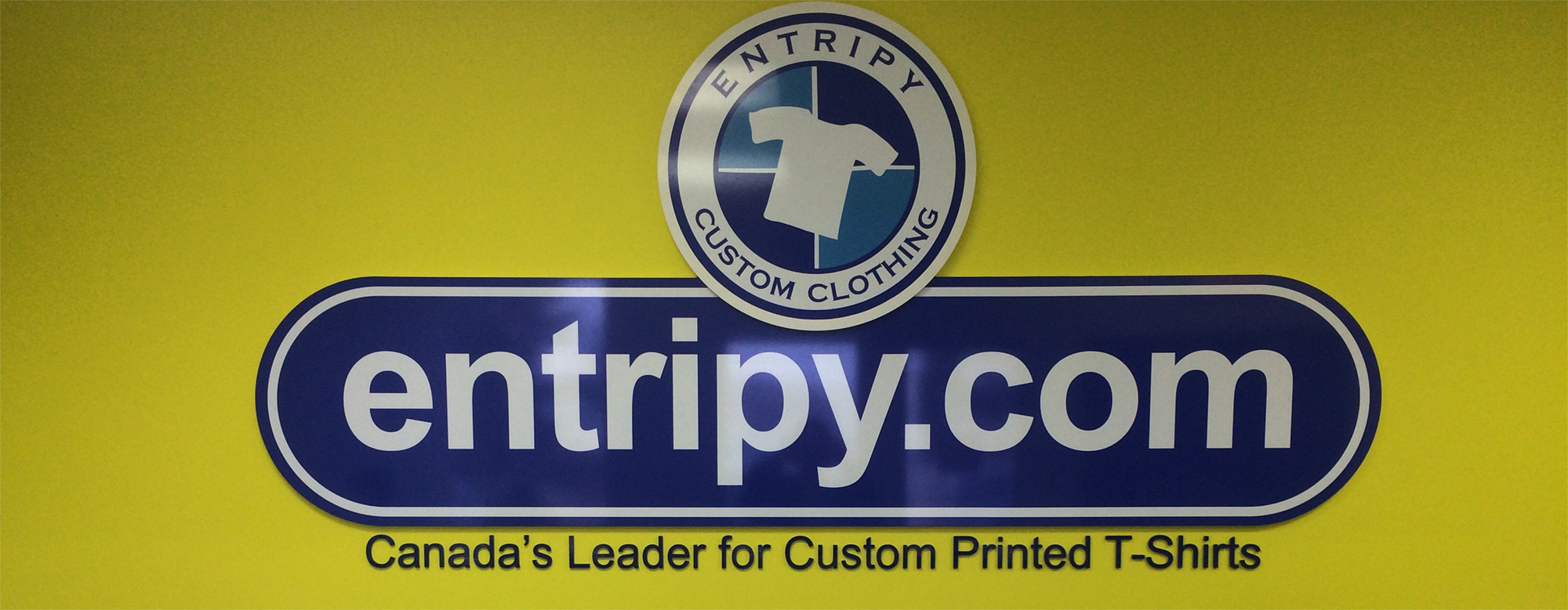 Entripy.com signage at the Entripy office in Oakville, Ontario.