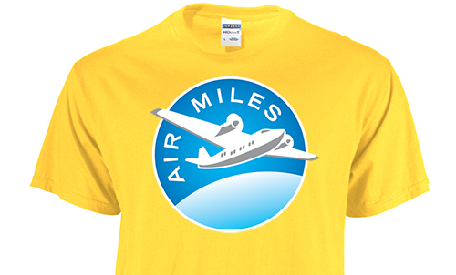 Yellow custom printed t-shirt with AirMiles logo where customers can get AirMiles with their custom apparel orders.