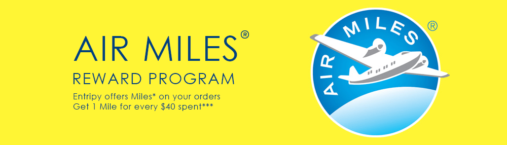Entripy offers AirMiles to customers making an online transaction for their custom apparel and promotional products.